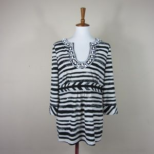 BCBGMAXAZRIA Black White Striped Beaded Blouse